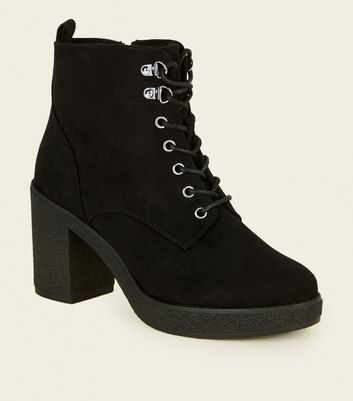 Wide Fit Black Borg Lined Lace Up Boots