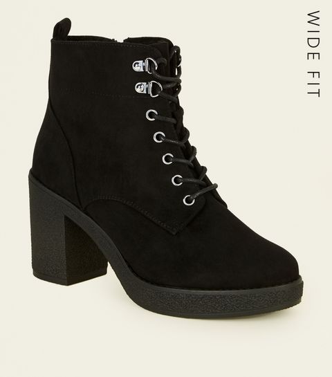 a93091867c99 ... Wide Fit Black Borg Lined Lace Up Boots ...