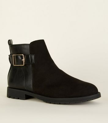 Wide Fit Black Buckle Side Flat Ankle Boots