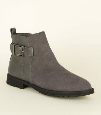 Wide Fit Grey Buckle Side Flat Ankle Boots