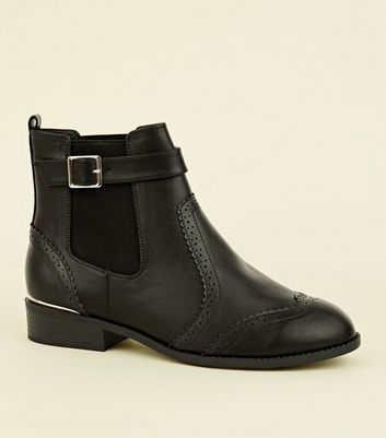 Wide Fit Black Leather-Look Brogue Chelsea Boots