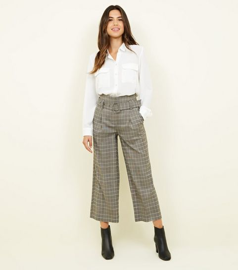 ... Stone Check Buckle Belt Wide Leg Trousers ...