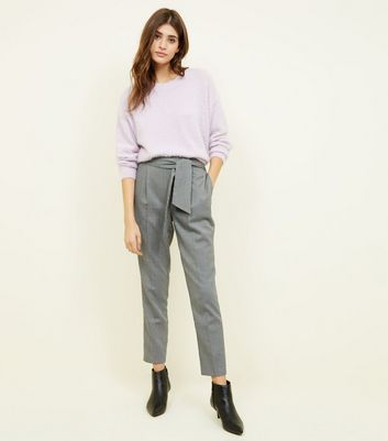 Grey Mini Houndstooth Tie Front Trousers