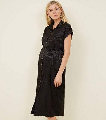 Maternity Black Leopard Print Jacquard Midi Shirt Dress