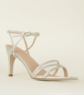 Wide Fit Silver Diamanté Strappy Heeled Sandals