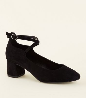 Wide Fit Black Cross Strap Courts by New Look