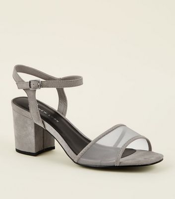 Wide Fit Grey Suedette Mesh Strap Block