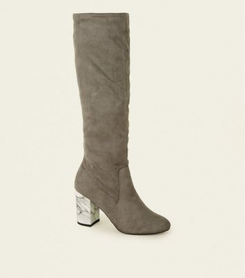 Wide Fit Grey Marble Effect Heel Knee High Boots by New Look