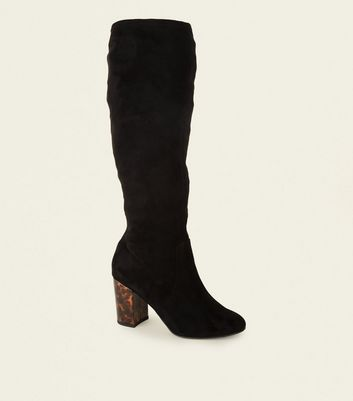 Wide Fit Black Contrast Heel Knee High Boots by New Look