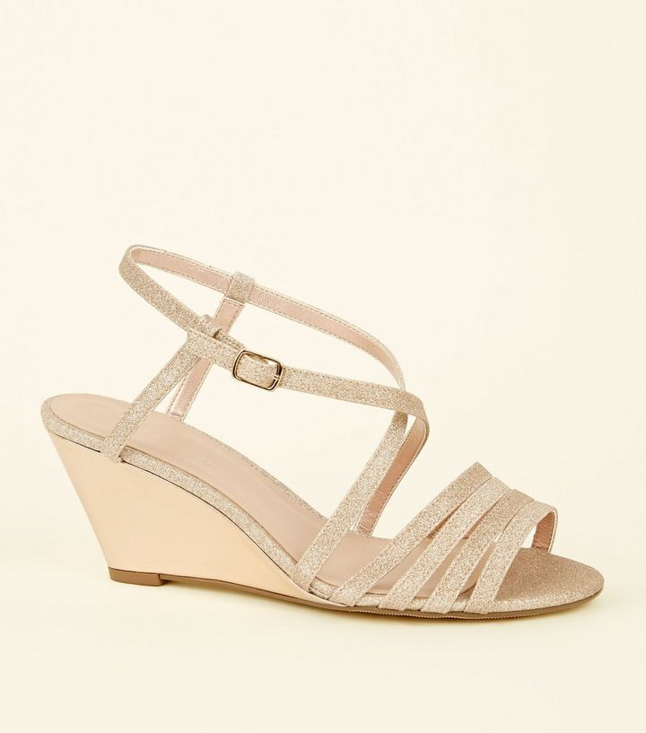 23a60d3230d Wide Fit Rose Gold Glitter Strappy Wedges