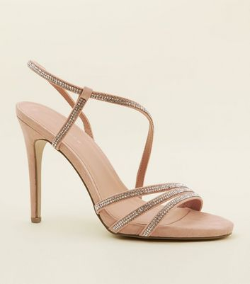 Nude Diamanté Strappy Stiletto Heels