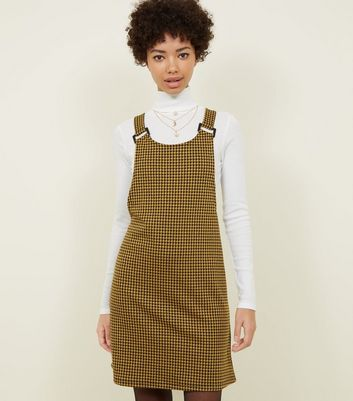 Mustard Houndstooth Check Jersey Pinafore Dress