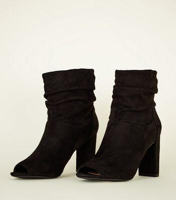 de8b7bd756d Black Suedette Block Heel Slouch Boots New Look
