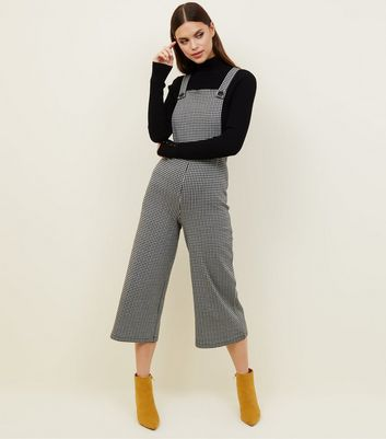 Black Houndstooth Check Jersey Dungarees