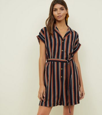 Navy Stripe Revere Collar Playsuit