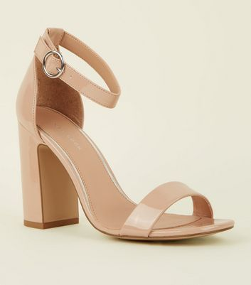 Nude Patent Circle Buckle Block Heels