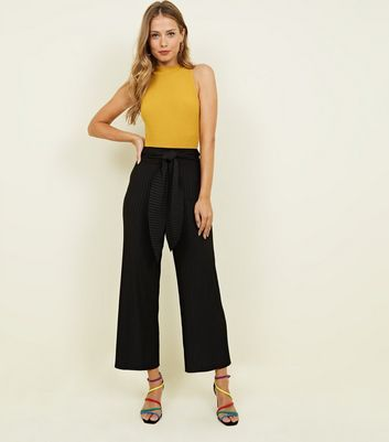 Black Pleated Tie Waist Trousers
