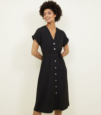 Black Button Through Tie Waist Midi Dress