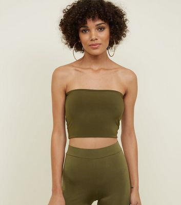 Khaki Stretch Party Bandeau Top