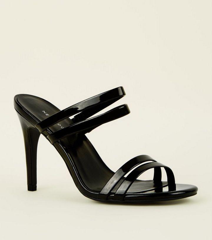 Black Patent Strappy Stiletto Heel Mules