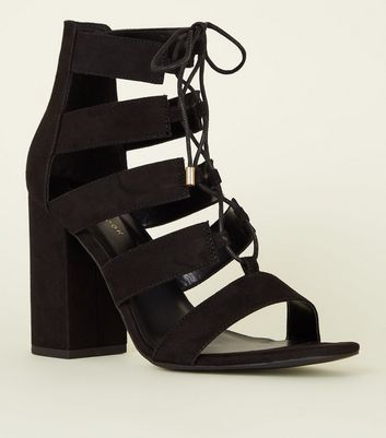 Black Suedette Lace-Up Block Heels
