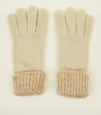 Cream Tinsel Knitted Gloves