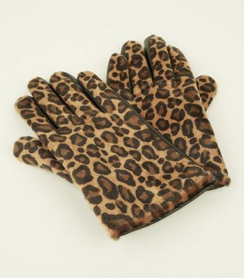 Brown Leather Leopard Print Touch Screen Gloves New Look