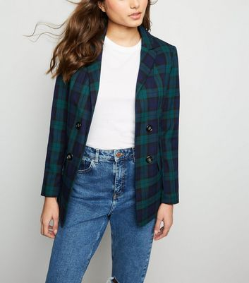 Black Check Double Button Blazer