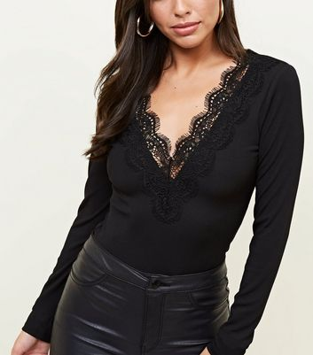Black Ribbed Lace Trim Long Sleeve Bodysuit