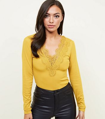 Yellow Ribbed Lace Trim Long Sleeve Bodysuit