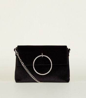 Black Velvet Diamanté Ring Shoulder Bag New Look