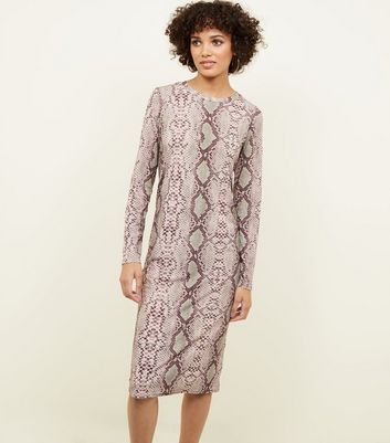 Brown Snakeskin Print Long Sleeve Dress