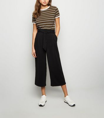 Black Tie Waist Cropped Trousers