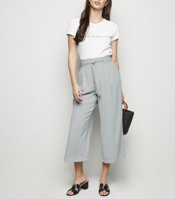 Light Green Tie Waist Crop Trousers