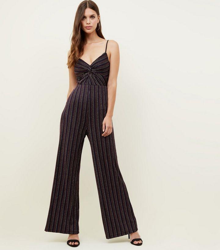 c32e6b896a3 ... Black Glitter Stripe Front Twist Jumpsuit. ×. ×. ×. Shop the look
