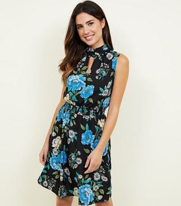 Floral dresses floral bodycon wrap tea dresses new look black floral shirred waist dress mightylinksfo
