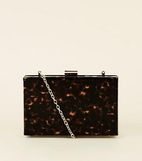 ... Brown Faux Tortoiseshell Box Clutch Bag ... 3644a9ba9f2e