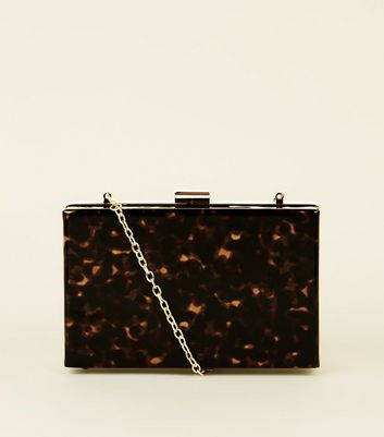 Brown Faux Tortoiseshell Box Clutch Bag by New Look