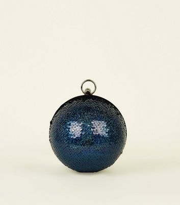 Blue Sequin Embellished Sphere Bag