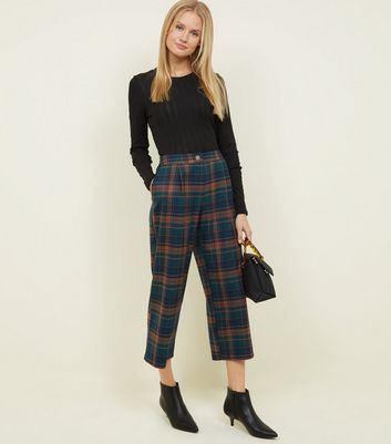 Green Check Pull On Crop Trousers