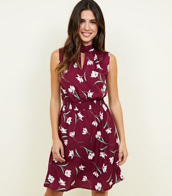 Purple Floral Shirred Waist Dress