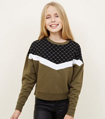 Girls Khaki NYC Monogram Colour Block Sweatshirt