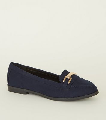 Navy Suedette Metal Bar Trim Loafers
