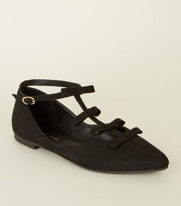 Black Suedette Bow T Bar Pointed Pumps by New Look