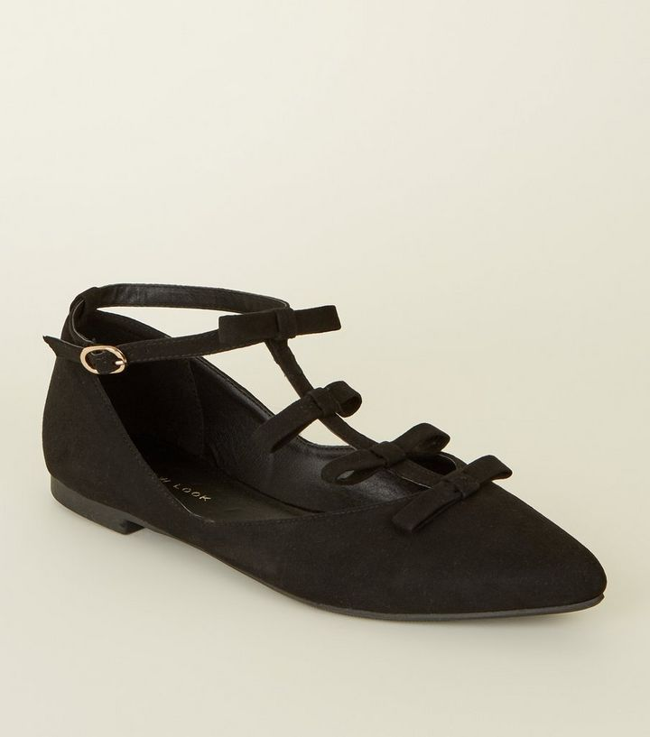 f3ef567acb6 Black Suedette Bow T-Bar Pointed Pumps Add to Saved Items Remove from Saved  Items