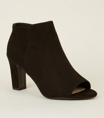 Black Comfort Flex Suedette Peep Toe Boots by New Look