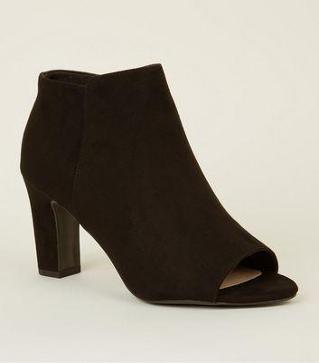 Black Comfort Flex Suedette Peep Toe Boots by New Look