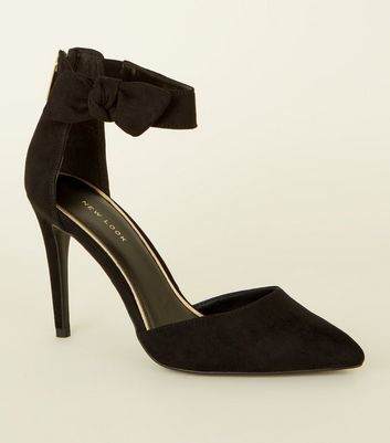 Black Suedette Bow Ankle Strap Stilettos