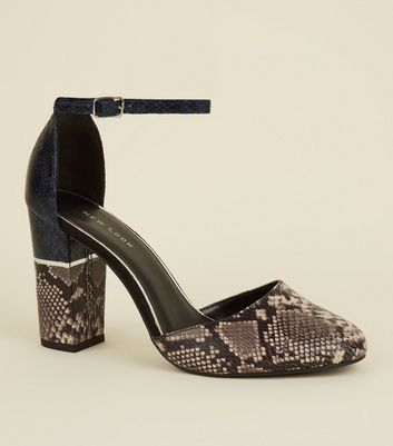 Navy Colour Block Faux Snakeskin Sandals