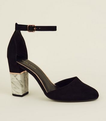 Black Suedette Marble Effect Block Heel Sandals
